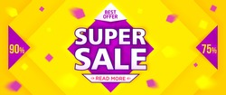 Yellow super sale and discounts banner. Vector illustration