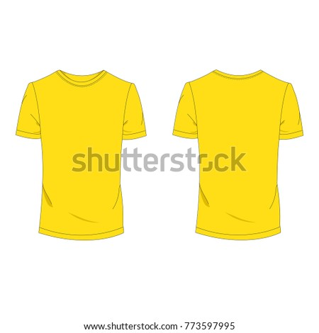 Yellow T-shirt template using for fashion cloth design and accessory for designer to make mock up or blue print in company. - Shutterstock ID 773597995