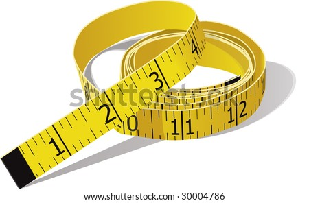 Yellow tape measure in inches. Vector file is in CMYK color.
