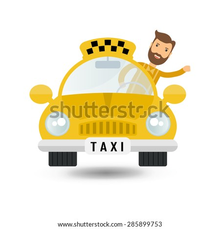 yellow taxi car and taxi driver - vector icon