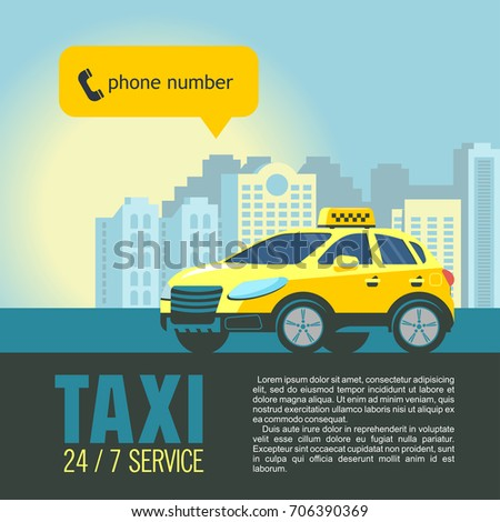 Yellow taxi car in the background high rise buildings. Vector illustration of a taxi service.