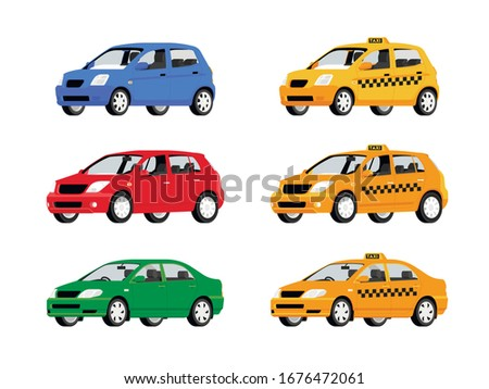 Yellow Taxi car. Taxi service automobile isolated on white background. Vector illustration Сток-фото ©