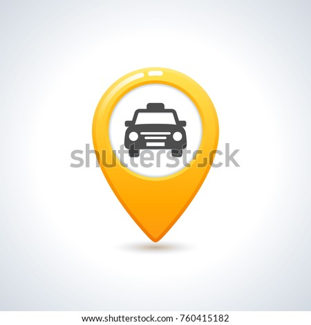 Yellow taxi icon. Map pin with taxi car sign. Vector illustration