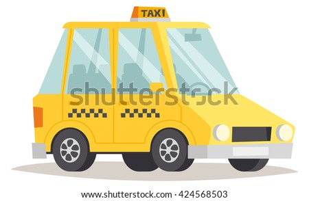 yellow taxi isolated yellow