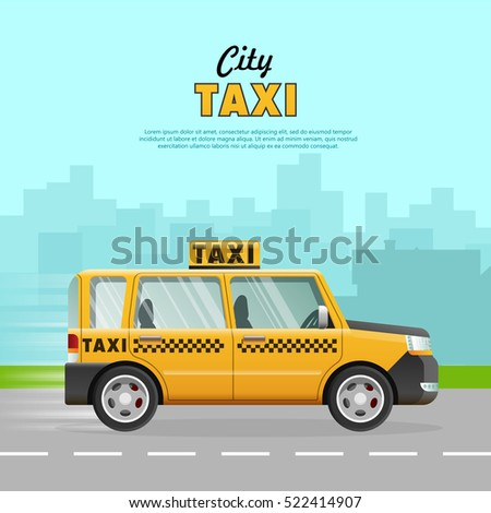 yellow taxi with a checker on