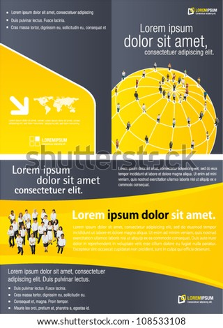 Yellow template for advertising brochure with connected people over earth globe. Social network.