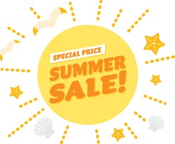 Yellow title design of the summer sale