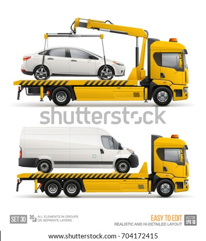 Yellow Tow Truck for transportation faults and emergency cars mockup template. Car towing truck Evacuator isolated on white background
