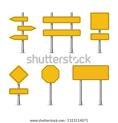 Yellow traffic signs, double and single on a white background, vector #1323114071