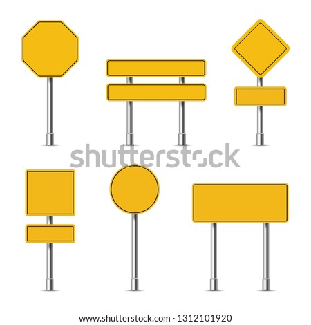 Yellow traffic signs on a white background, vector #1312101920