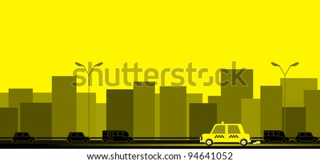 yellow transport background with taxi car on the road and house silhouette