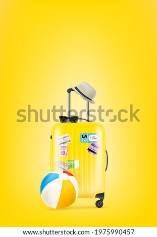 yellow travel bag with paper