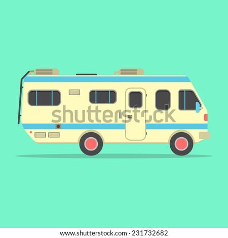yellow travel camper van isolated on green background. concept of outdoor recreation and travel around the world. flat style design trendy modern vector illustration