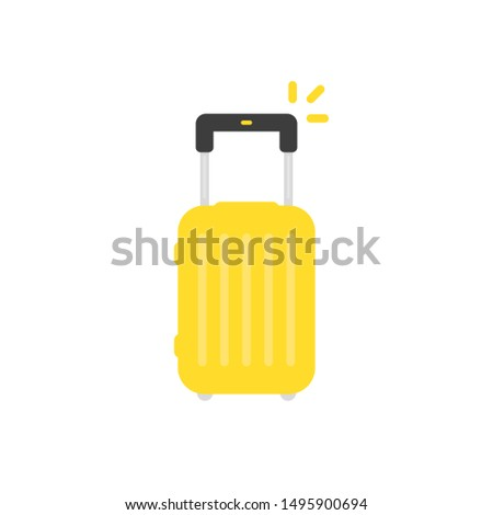yellow travel suitcase isolated on white. flat style trend modern minimal summer time logotype graphic design. concept of summertime handbag for traveling or recreation and valise for sea cruise