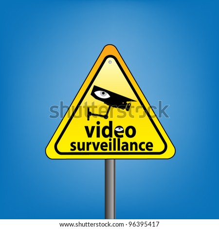 Yellow triangle hazard warning sign against blue sky - CCTV surveillance in operation concept, vector version