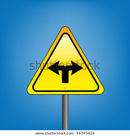 Yellow triangle hazard warning sign against blue sky - change ahead indication with arrows, vector version