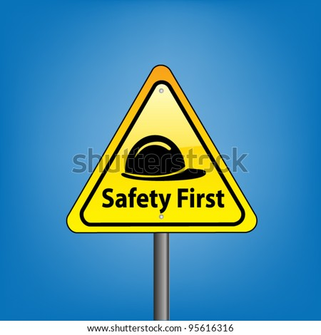 Yellow triangle hazard warning sign against blue sky - safety first and hard hat symbol indication, vector version
