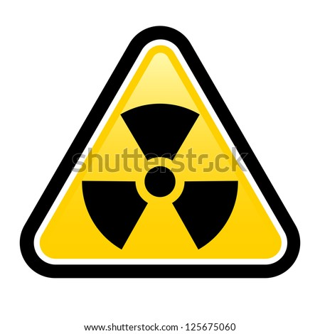 Yellow triangle sign with a radiation symbol on white glossy plane