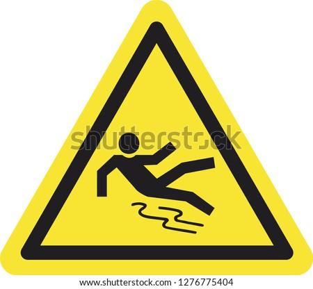 Yellow Triangle Slippery Caution