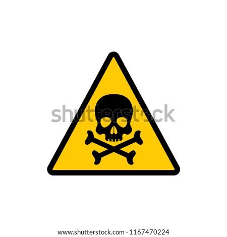 Yellow triangle warning toxic sign. Toxic warning triangular vector symbol sticker.