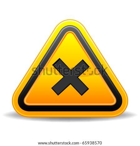 Yellow triangular warning sign indicating crossroads