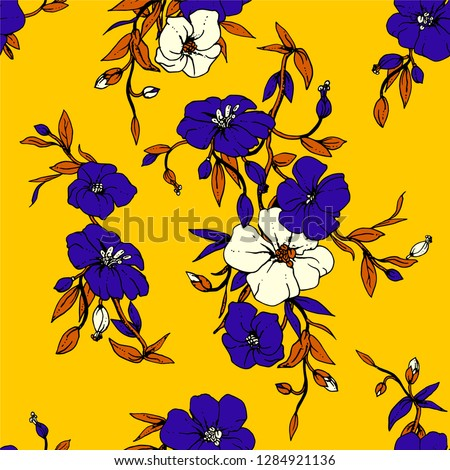 Yellow tropical vector floral seamless pattern with blue exotic flower flax leaves. Fabric texture fashion design for summer sport clothing, bikini prints. Hand drawn watercolor botanical illustration