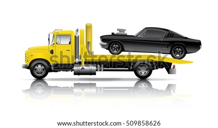 yellow truck towing black