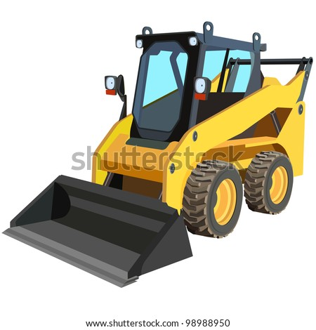 yellow truck with a scraper to lift cargo. Vector.