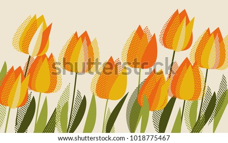 Yellow tulip spring floral design element. Bright flower vector illustration in vintage colors.
