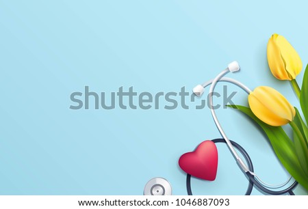 yellow tulips and stethoscope