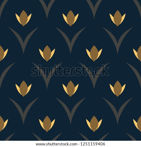 Yellow tulips on a navy blue floral arc pattern. Simple geometric allover motif exquisite print for high fashion fabric, textile. Retro seamless ornament. Folk flowers and leaves vector minimal design
