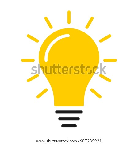 Yellow turned on lightbulb idea notification popup reminder icon on a dark background flat design vector pictogram illustration image