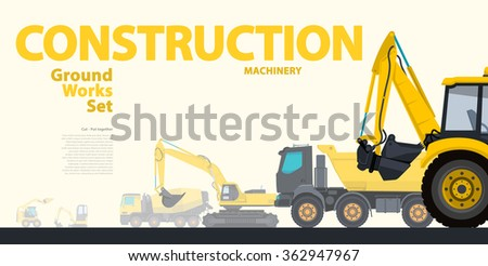 Yellow typography set of ground works machines vehicles - Excavator. Construction equipment for building. Truck, Digger, Crane, Bagger, Mix master vector illustration â?? nice catalog page