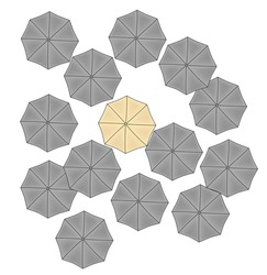 yellow umbrella among gray ones. concept features. vector illustration.