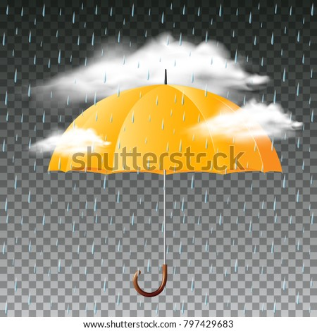 Yellow umbrella and rainy day illustration