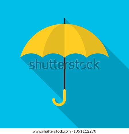 yellow umbrella icon with long