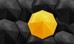 Yellow umbrella standing out from background of black umbrellas. Business and leadership concept.