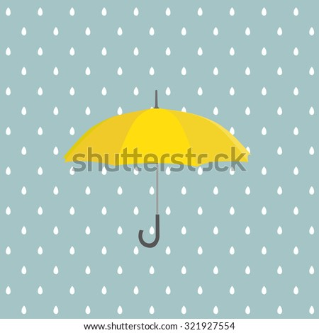 Yellow umbrella with rain. Vector background