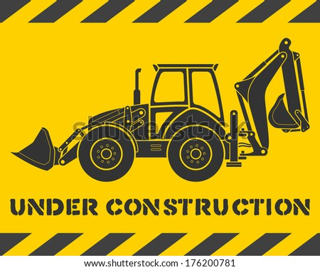 Yellow under construction pattern with gray excavator silhouette