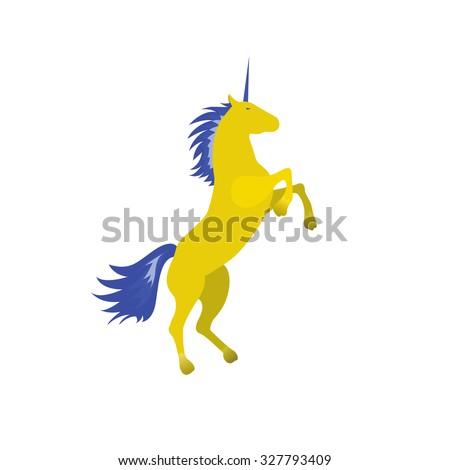 yellow unicorn vector icon on
