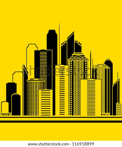 yellow urban construction background with high skyscrapers
