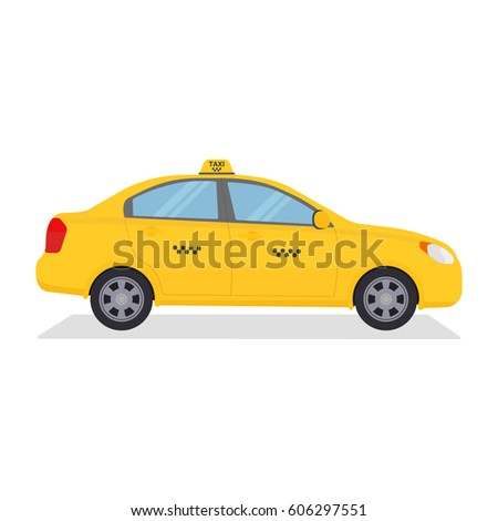 Yellow urban taxi cab isolated on white background. Taxi service. City transport. Vector colorful illustration in flat style.