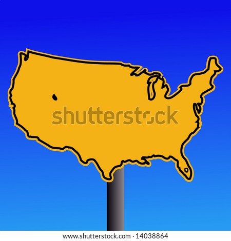 yellow USA map warning sign on blue illustration