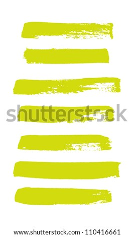 Yellow vector brush strokes collection