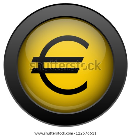 Yellow vector euro icon, isolated on white background