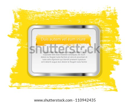Yellow vector glossy glass banner with metallic frame on a hand-painted daub background - stock vector