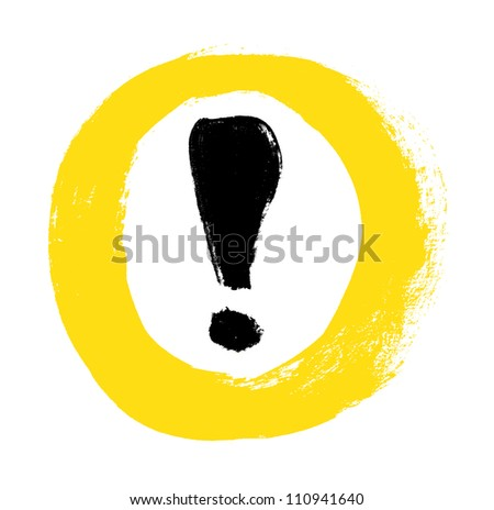 Yellow vector hand-painted exclamation / warning / danger sign / icon in a circle