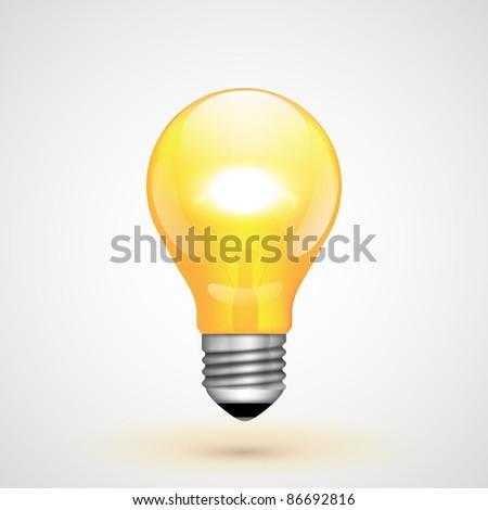 Yellow Vector Light Bulb - stock vector
