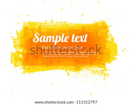 Yellow vector painted grungy banner / background
