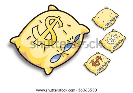 yellow vector pillow with a dollar sign - stock vector